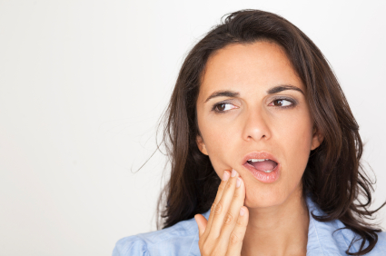 Woman in need of gum disease treatment in Bend, OR.